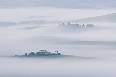 Early morning mist lingering among the villas and farmhouses within the Val d'Orcia, UNESCO World Heritage Site, Tuscany, Italy, Europe