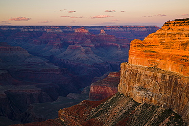A low sun lights Brahma and Zoroaster temples and the cliff below Hopi Point with the metamorphic Vishnu basement rocks below, Grand Canyon, UNESCO World Heritage Site, Arizona, United States of America, North America
