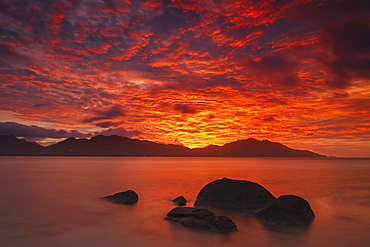 Sunset above the island of Mahe, Seychelles, Indian Ocean, Africa