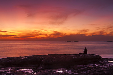 Watching sunset from the western shore of Tenerife in the Canary Islands, Spain, Atlantic, Europe