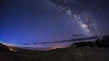 Milky Way arching above Bryce Canyon National Park, Utah, United States of America, North America