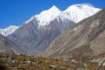 Diran peak towering over the Bagrot Valley, Gilgit-Baltistan, Pakistan, Asia