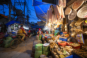 Busy market streets in the old part of Kathmandu called Ason, Kathmandu, Nepal, Asia