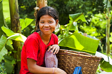 A Chakma girl in the Rangamati area in Bangladesh collects banana flowers which will be used to make curry, Chittagong Hill Tracts, Bangladesh, Asia