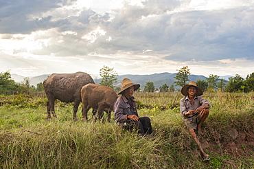 Farmers take a break from working the fields near Yuanmou, Yunnan Province, China, Asia