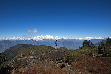 Taking in the view of the Himalayan Range on the trail between Sian Gompa and Gosainkund in the Langtang region, Himalayas, Nepal, Asia