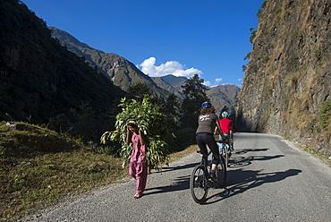 Mountain biking near the Tibetan border, Nepal, Asia
