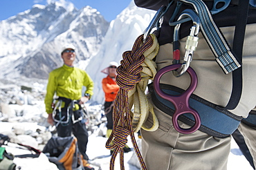 Climbers test their gear at Everest Base Camp before making their way onto the mountain, Khumbu Region, Himalayas, Nepal, Asia