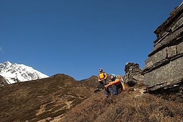Chortens above Mu Gompa, Tsum Valley, Nepal, Asia
