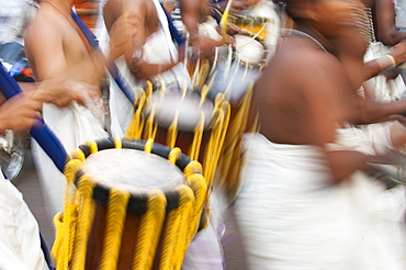 Drums for a festival in Kerala, South India, Asia