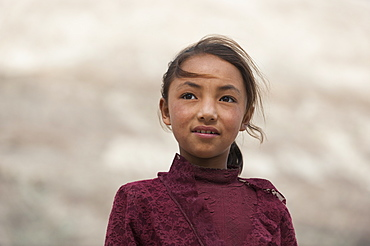 A girl in the Nubra Valley in Ladakh, one of the most isolated places in India, Asia