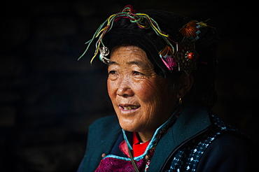 A Tibetan woman in Champing Valley, Sichuan, China, Asia