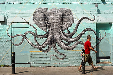 Octophant mural by Alexis Diaz, near Brick Lane, Shoreditch, London, England, United Kingdom, Europe