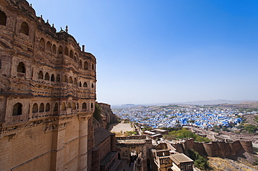 The Blue City of Jodhpur seen from the Mehrangarh Fort, Jodhpur, Rajasthan, India, Asia