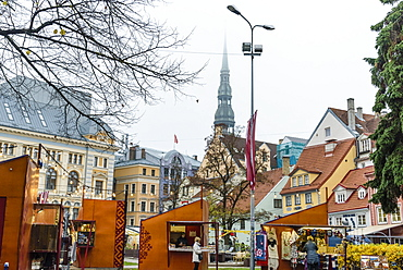 Christmas market in Livu Square, Old Town, UNESCO World Heritage Site, Riga, Latvia, Europe