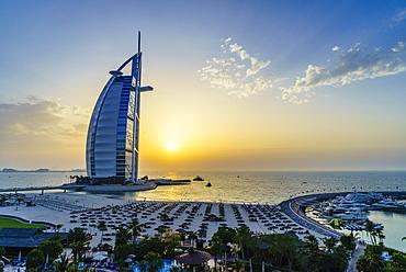 Burj Al Arab, Jumeirah Beach at sunset, Dubai, United Arab Emirates, Middle East