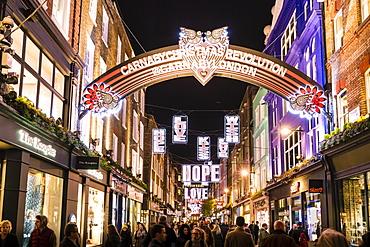 Alternative festive Christmas lights in Carnaby Street, Soho, London, England, United Kingdom, Europe
