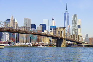 Brooklyn Bridge and Manhattan skyline, New York City, United States of America, North America