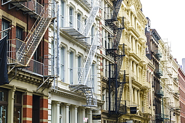 Old buildings and fire escapes in the Cast Iron District of SoHo, Manhattan, New York City, United States of America, North America