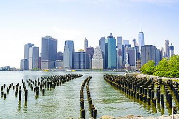 Manhattan skyline viewed from Brooklyn Bridge Park, New York City, United States of America, North America