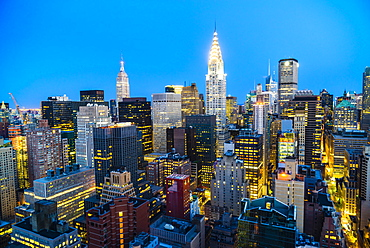 Manhattan skyline, Empire State Building and Chrysler Building, New York City, United States of America, North America