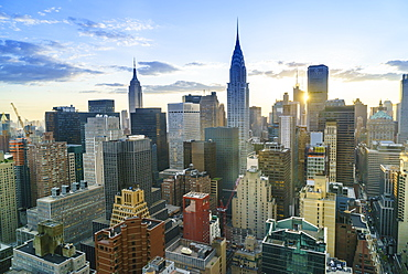 Manhattan skyline, Empire State Building and Chrysler Building at sunset, New York City, United States of America, North America