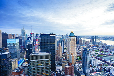 Manhattan skyline from Times Square to the Hudson River, New York City, United States of America, North America