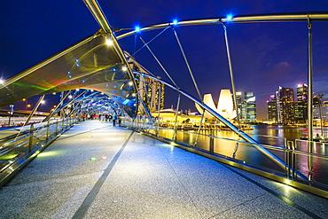 Helix Bridge leading to the Marina Bay Sands, Marina Bay, Singapore, Southeast Asia, Asia