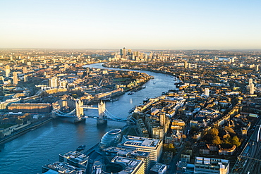 High view of London skyline along the River Thames from Tower Bridge to Canary Wharf, London, England, United Kingdom, Europe