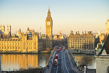 High angle view of Big Ben, the Palace of Westminster, UNESCO World Heritage Site, and Westminster Bridge, London, England, United Kingdom, Europe