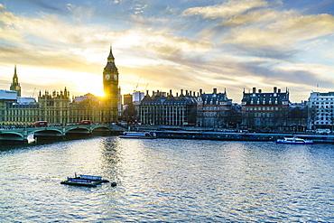 Big Ben (the Elizabeth Tower) and Westminster Bridge at sunset, London, England, United Kingdom, Europe