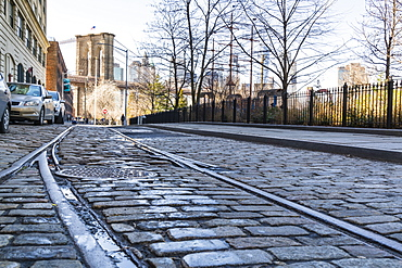 Old rail tracks and cobbled street in Dumbo Historic District, Brooklyn, New York City, United States of America, North America