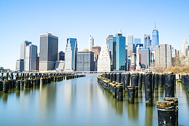 Lower Manhattan skyline viewed from Brooklyn side of East River, New York City, United States of America, North America