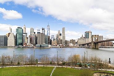 Manhattan skyline and Brooklyn Bridge, New York City, United States of America, North America