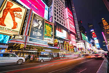 Times Square by night, New York City, United States of America, North America