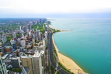 Chicago skyline and Lake Michigan, Chicago, Illinois, United States of America, North America