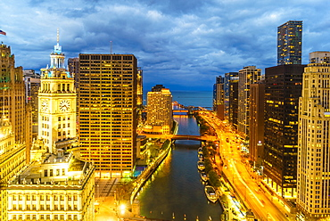 Towers along the Chicago River towards Lake Michigan, Chicago, Illinois, United States of America, North America