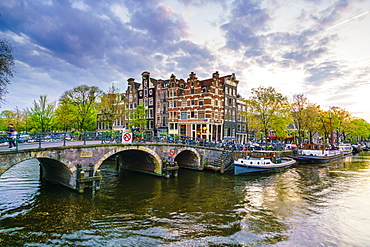 Traditional Dutch gabled houses and canal, Amsterdam, Netherlands, Europe