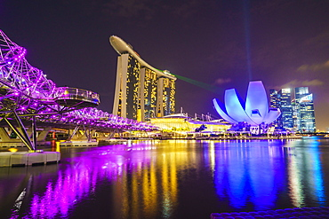 Helix Bridge, Marina Bay Sands and ArtScience Museum illuminated at night, Marina Bay, Singapore, Southeast Asia, Asia