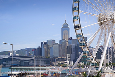 The Hong Kong Observation Wheel, Victoria Harbour, with the International Convention Centre, Hong Kong Island beyond, Hong Kong, China, Asia