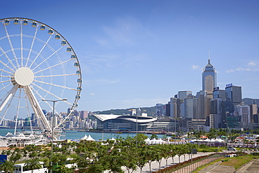 The Hong Kong Observation Wheel, Victoria Harbour, beyond is the International Convention Centre, Hong Kong Island, Hong Kong, China, Asia