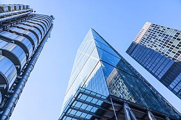 Lloyds Building and Leadenhall Building, known as the Cheesegrater due to its wedge shape, City of London, London, England, United Kingdom, Europe