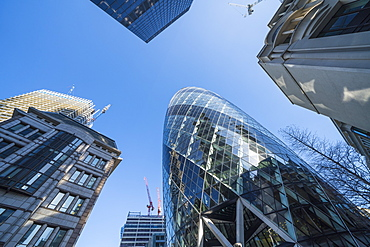 Financial district skyscrapers, including 30 St. Mary Axe, known as the Gherkin, City of London, London, England, United Kingdom, Europe
