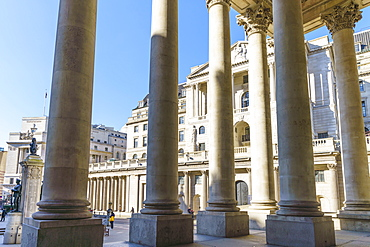 Bank of England viewed from the Royal Exchange, City of London, London, England, United Kingdom, Europe
