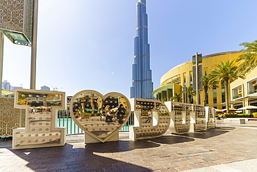 Burj Khalifa and I Love Dubai sign by the Lake, Downtown, Dubai, United Arab Emirates, Middle East