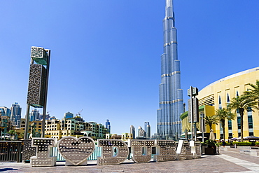 Burj Khalifa and I Love Dubai sign by the Lake, Downtown, Dubai, United Arab Emirates, Middle East