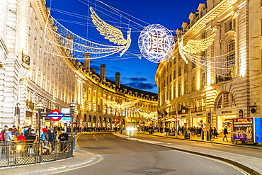 Regent Street with Christmas decorations, London, England, United Kingdom, Europe