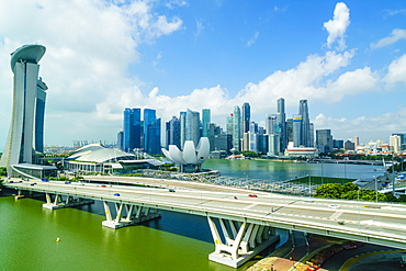 Busy roads leading to the Marina Bay Sands, Gardens by the Bay and ArtScience Museum with the city skyline beyond, Singapore, Southeast Asia, Asia