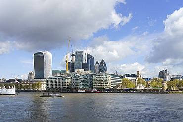 City of London financial district skyline viewed from the South bank of the River Thames, London, England, United Kingdom, Europe