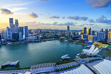 The towers of the Central Business District and Marina Bay at sunset, Singapore, Southeast Asia, Asia